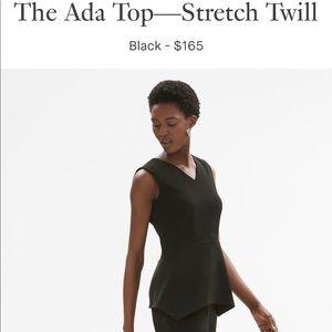 MM LaFleur Ada Top, Black, sz 0, Stretch Twill